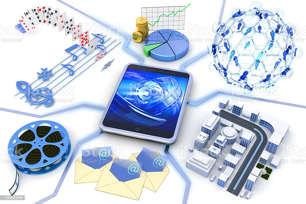 Tablet PC content stock photo