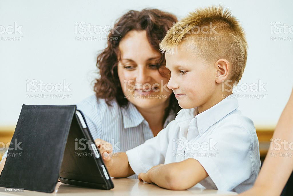 Tablet PC Fun at School royalty-free stock photo