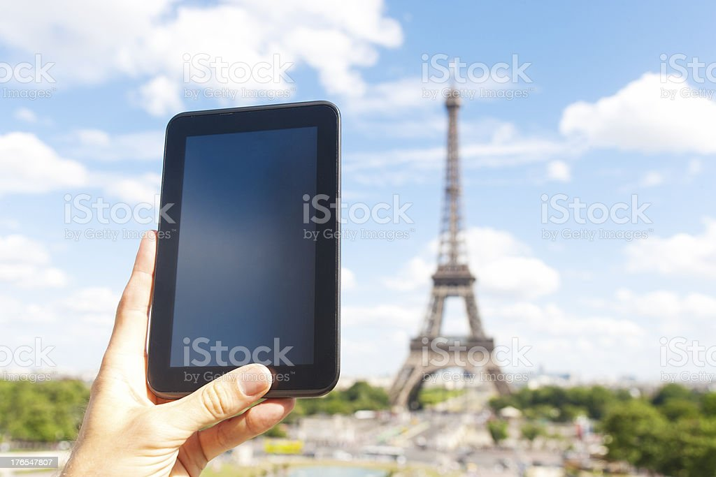 Tablet PC in front of Eiffeltower royalty-free stock photo