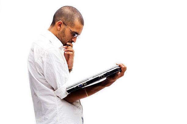 Tablet PC Man stock photo