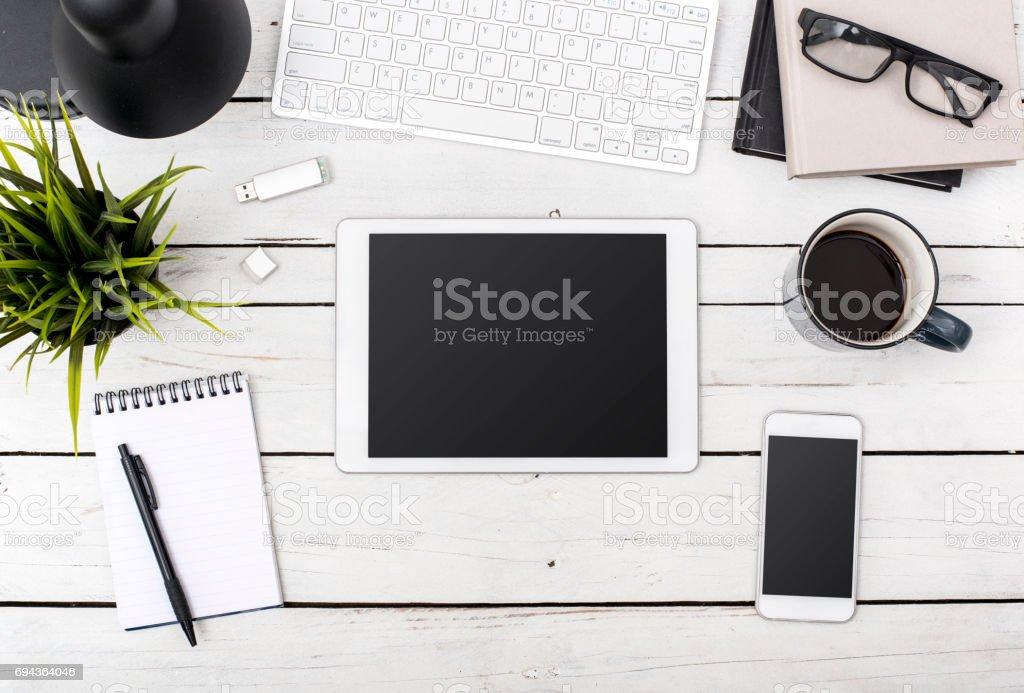 Tablet pc office header stock photo