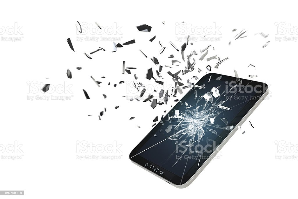 Tablet PC screen damage concept stock photo