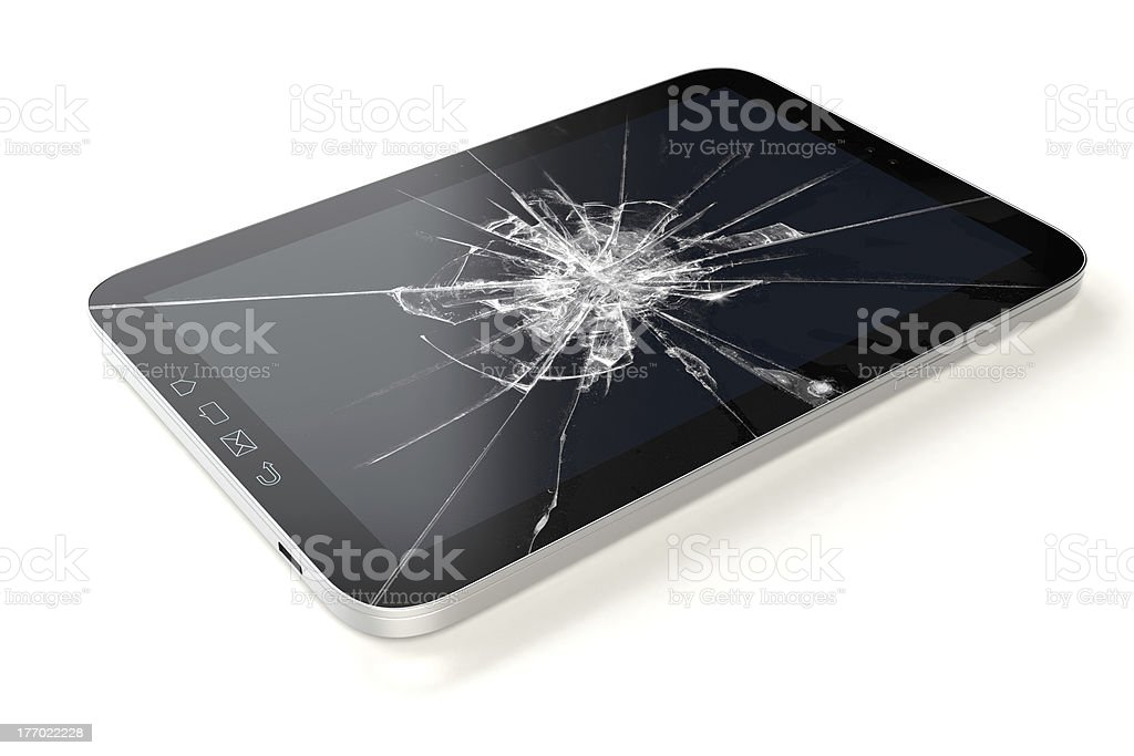 Tablet PC screen damage stock photo