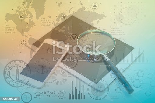 istock tablet PC, smart phone and magnifying glass, various information vision, ICT(Information Communication Technology) abstract 685367072