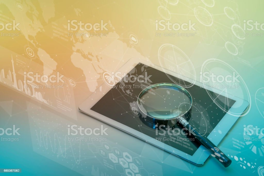 tablet PC, smart phone and magnifying glass, various information vision, ICT(Information Communication Technology) abstract stock photo