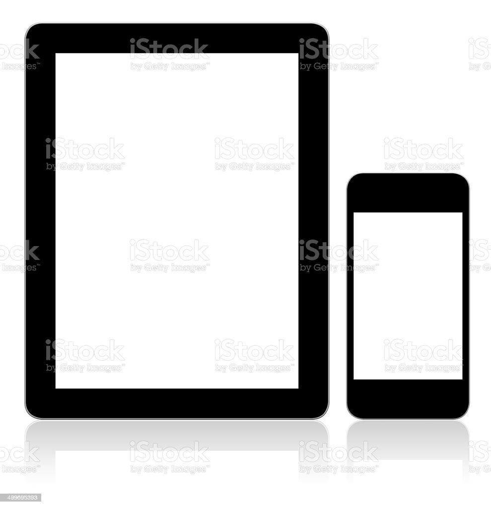 Tablet PC & Smart Phone With Blank Screen stock photo
