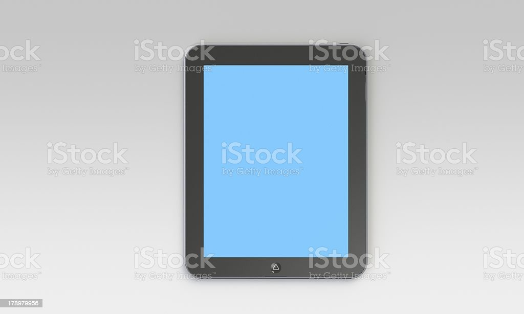 tablet pc with blue screen isolated on white royalty-free stock photo