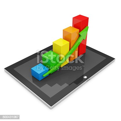 istock Tablet PC with Colorful Business Graph isolated on white background 500431067