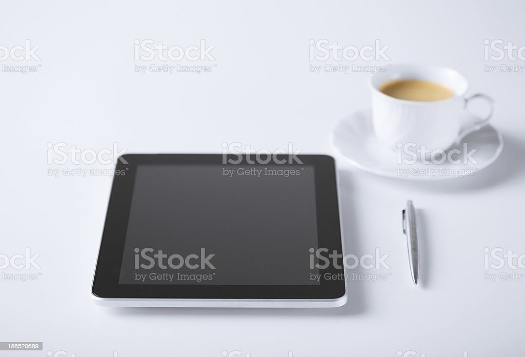 tablet pc with cup of coffee royalty-free stock photo