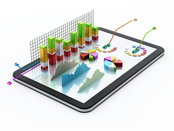 Tablet PC with financial data stock photo