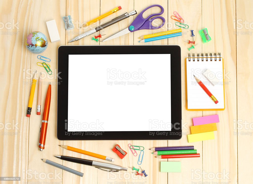Tablet PC with school office supplies stock photo