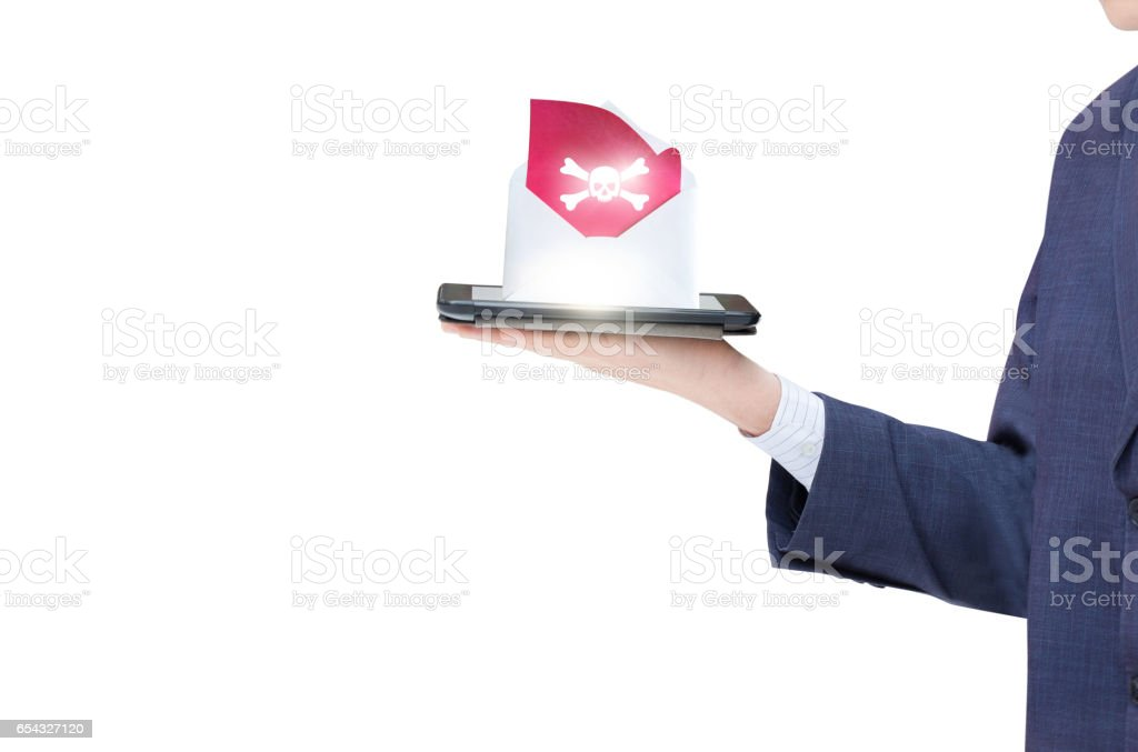 Tablet received a letter with a virus. stock photo