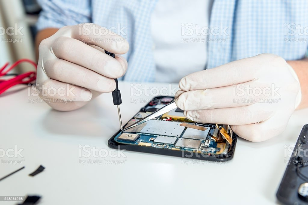 Tablet repair stock photo