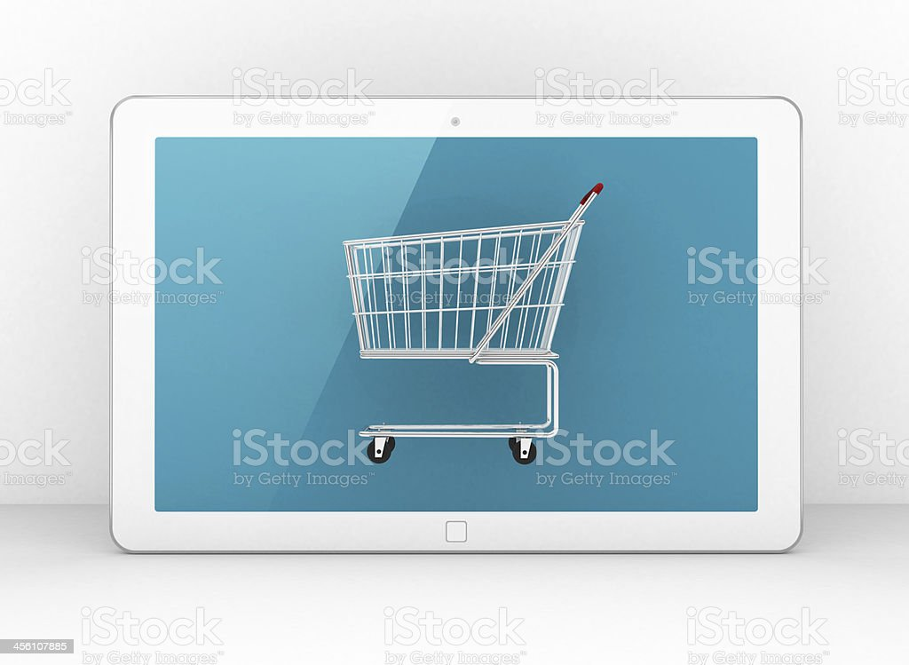 3D tablet - shopping cart stock photo