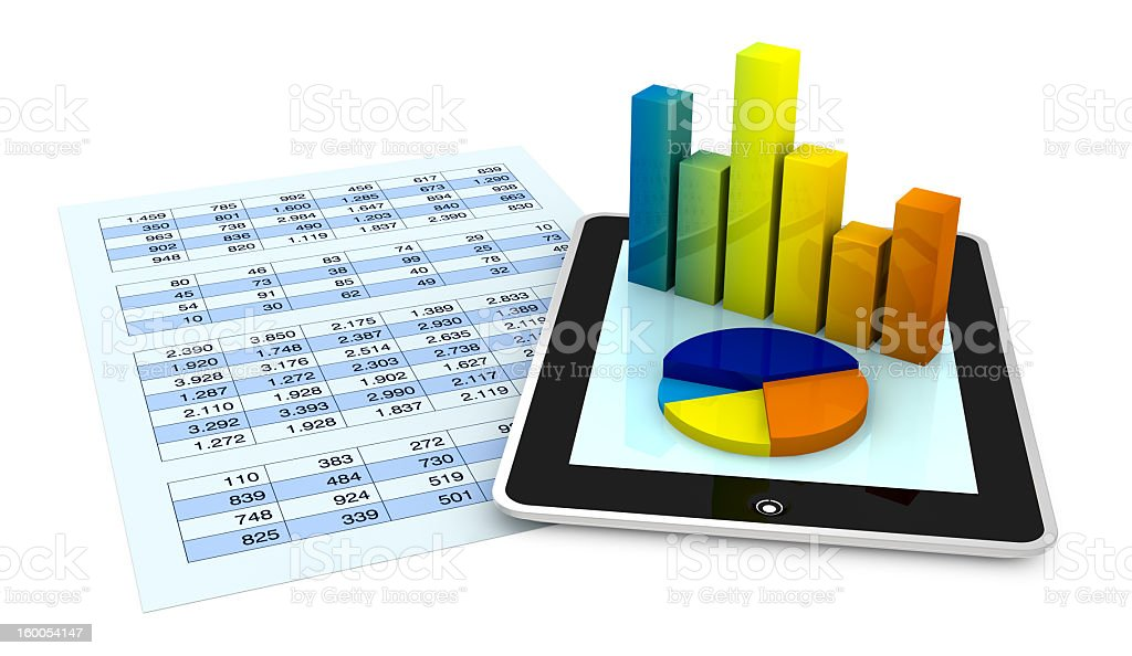 A tablet showing financial analysis using a bar graph royalty-free stock photo