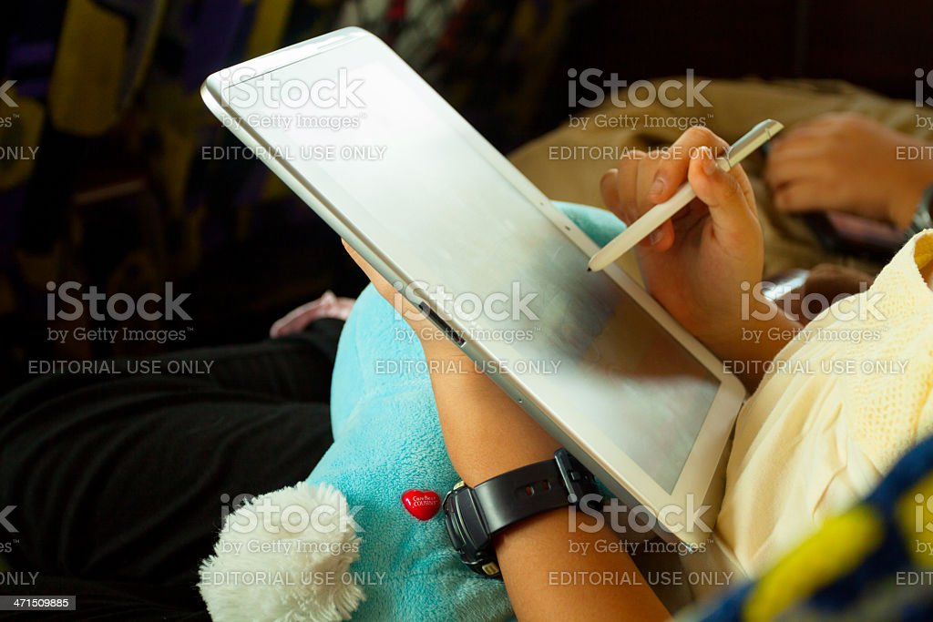 Tablet time stock photo