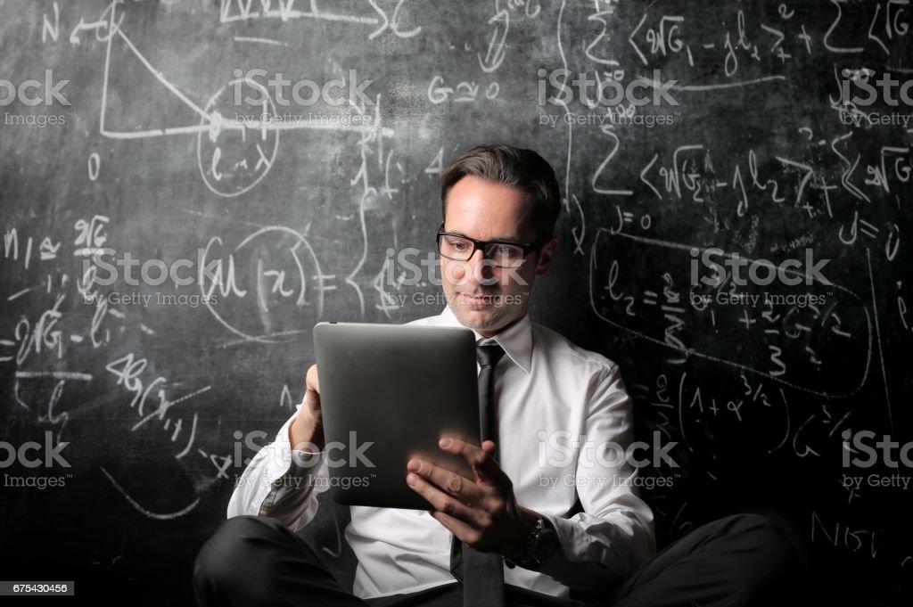 Tablet user stock photo