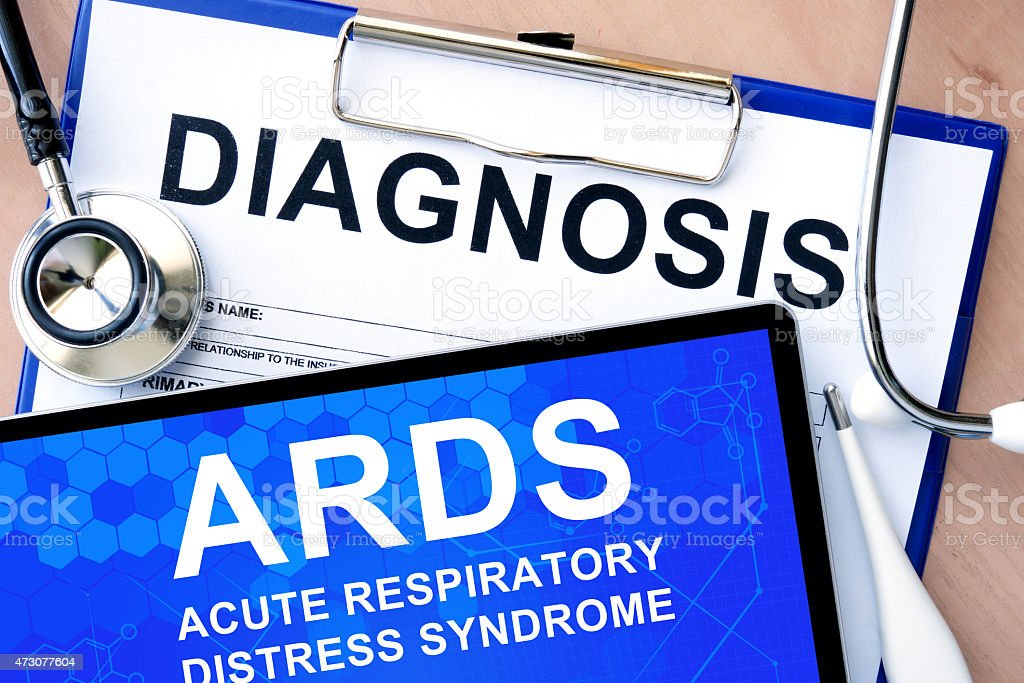 tablet with acute respiratory distress syndrome ARDS stock photo