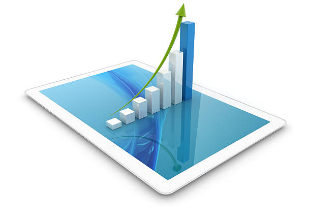 3D tablet with chart stock photo