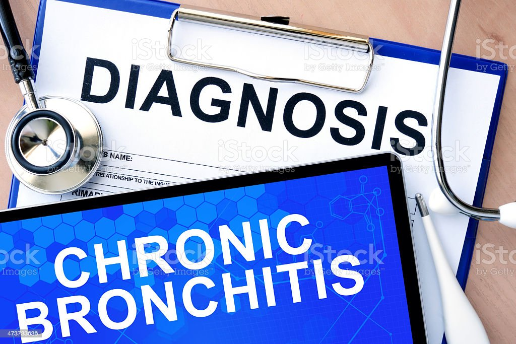 tablet with Chronic bronchitis stock photo
