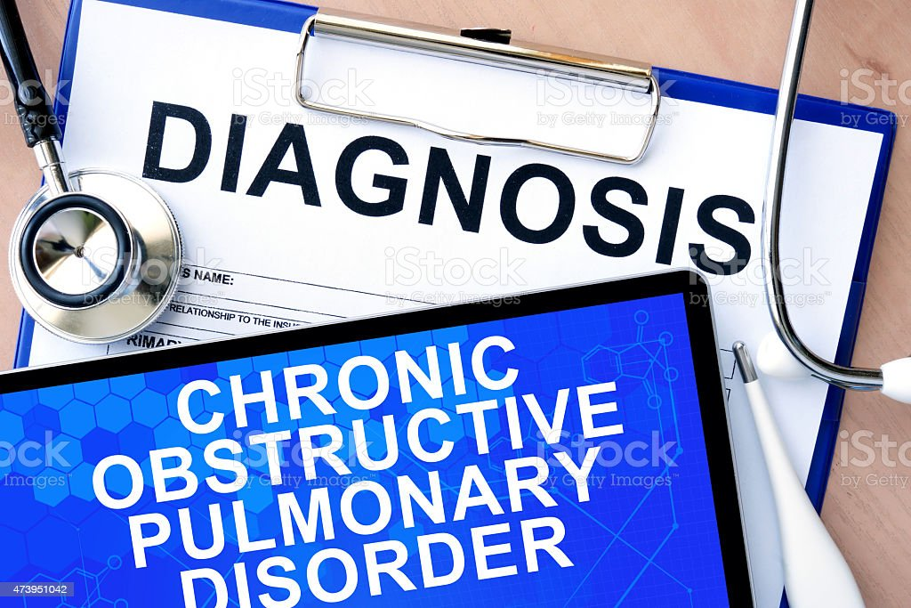 tablet with chronic obstructive pulmonary disorder stock photo