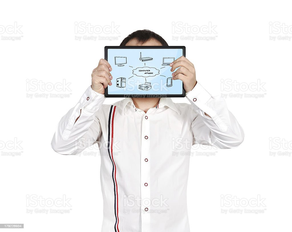 tablet with computer network royalty-free stock photo