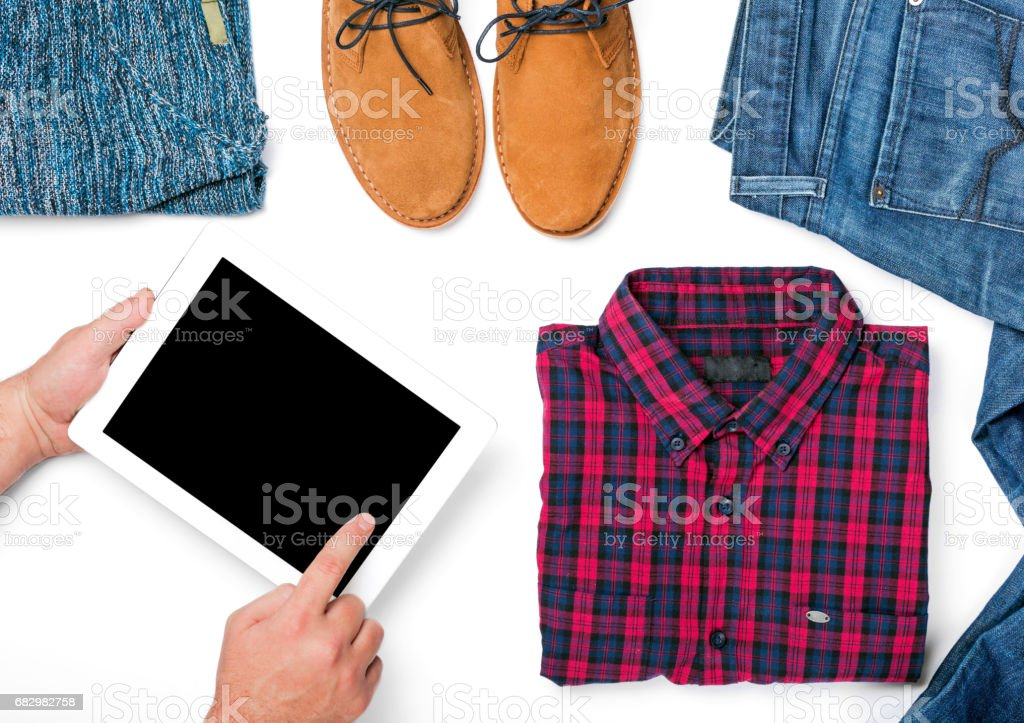 Tablet with copy space on white background with men autumn clothes collage stock photo