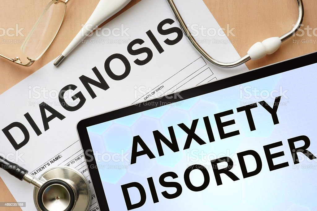 Tablet with diagnosis anxiety disorder and stethoscope. stock photo