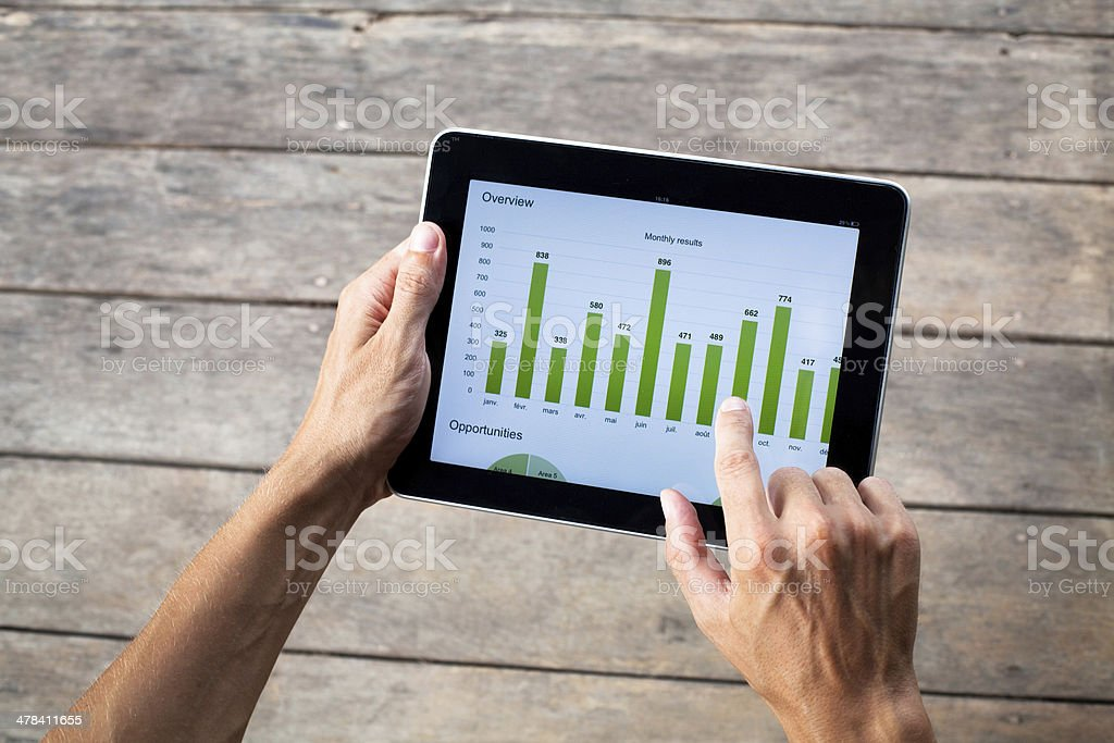 tablet with green chart stock photo