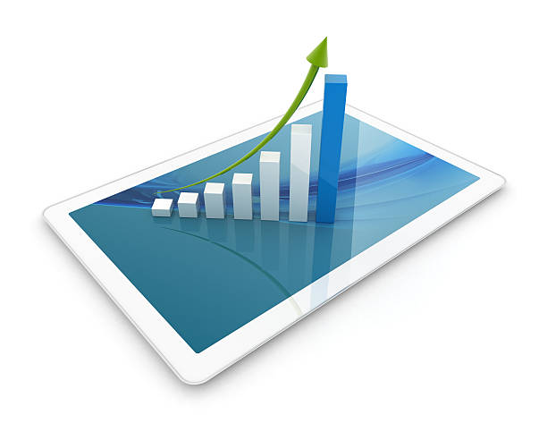 3D Tablet with Height Chart stock photo