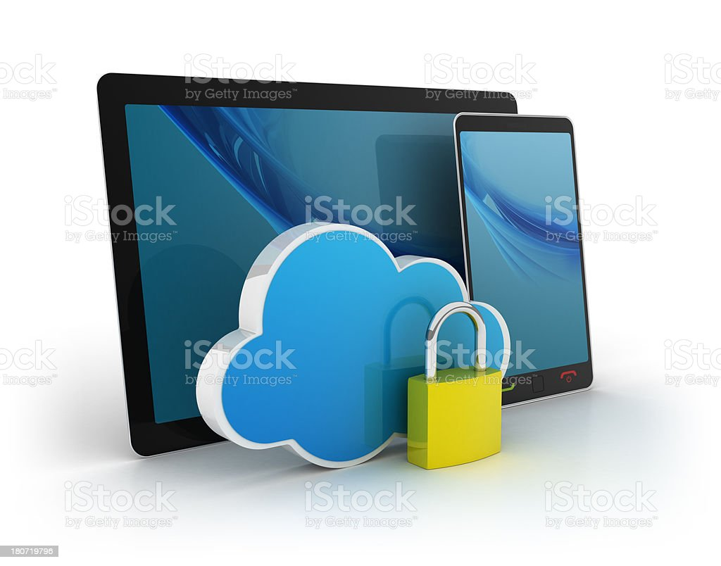 3D tablet with phone and cloud stock photo