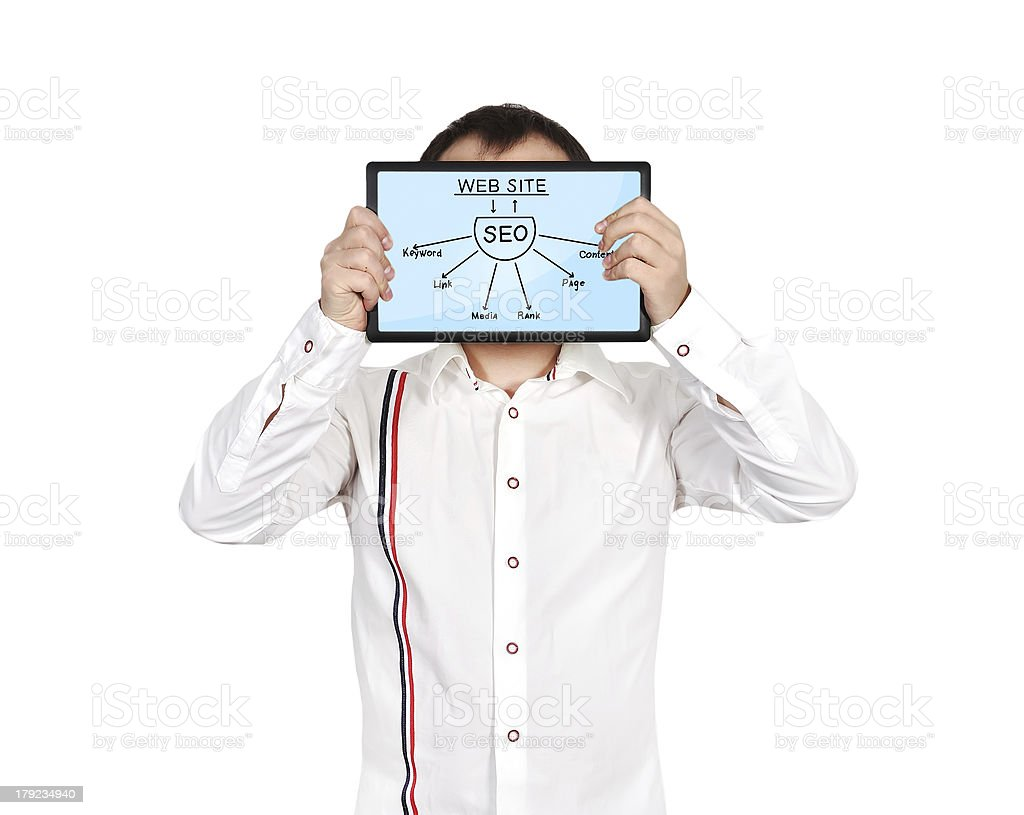 tablet with seo scheme royalty-free stock photo