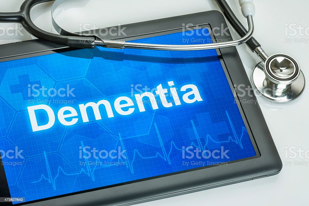 Tablet with the diagnosis dementia on the display royalty-free stock photo