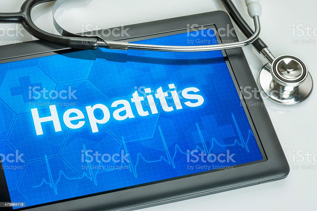 Tablet with the diagnosis hepatitis on the display stock photo