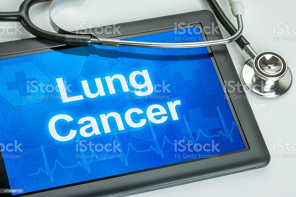 Tablet with the diagnosis Lung cancer on the display stock photo