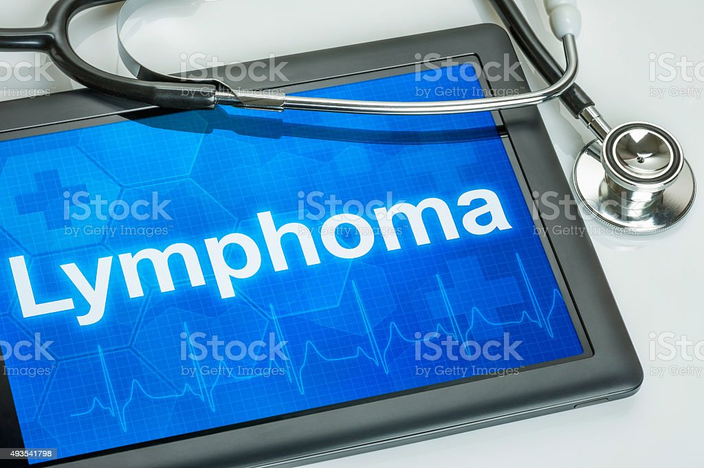 Tablet with the diagnosis Lymphoma on the display stock photo