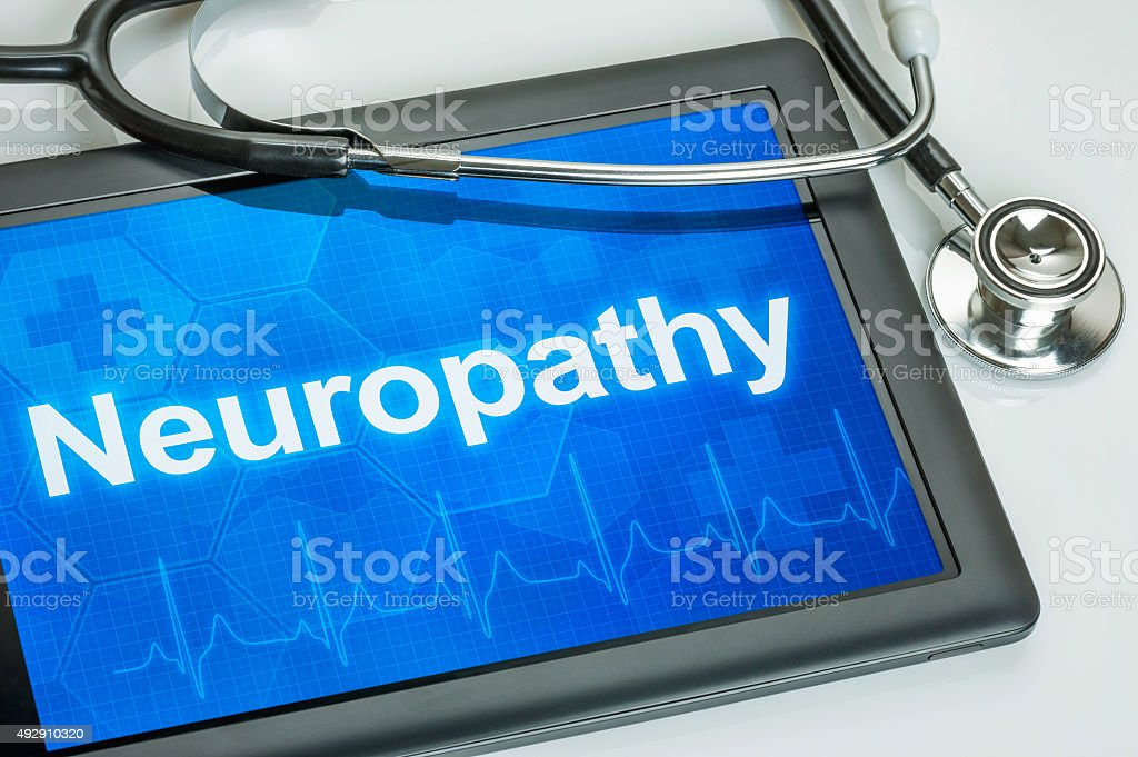 Tablet with the diagnosis Neuropathy on the display stock photo