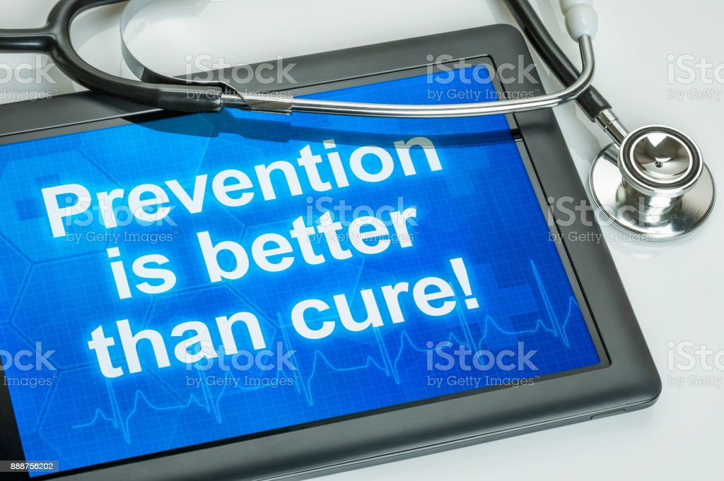 Tablet with the text Prevention is better than cure stock photo