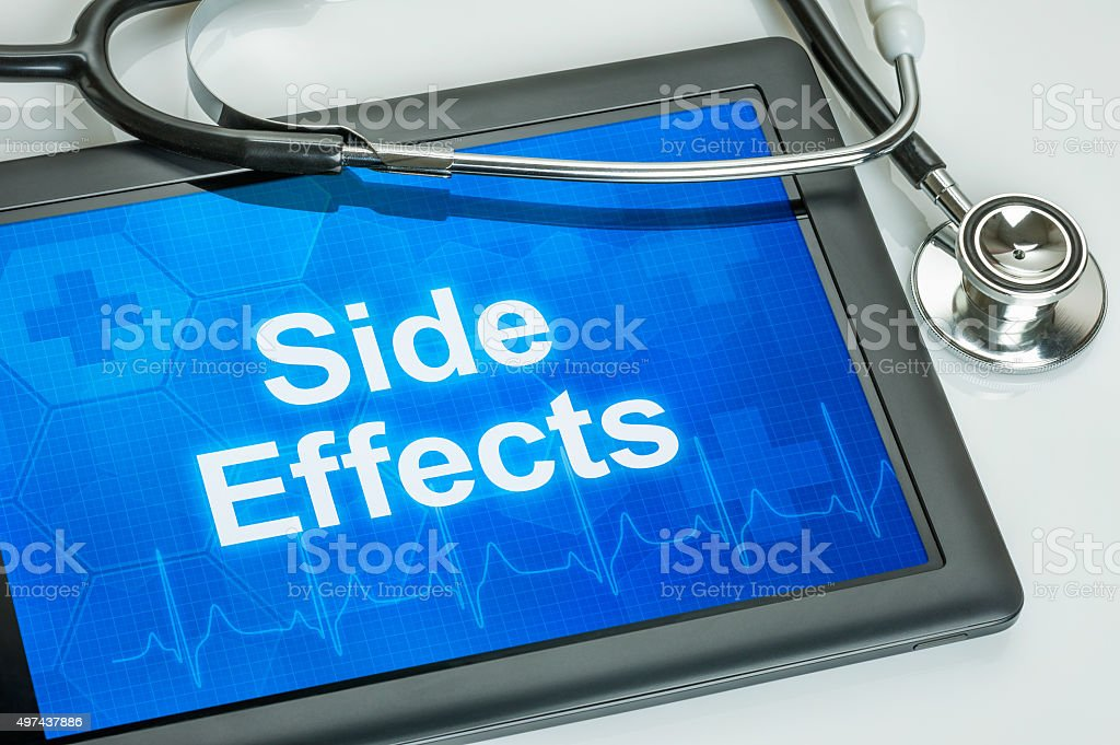 Tablet with the text Side Effects on the display stock photo