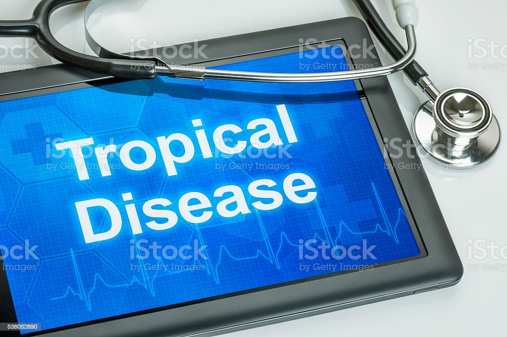 Tablet with the text Tropical Disease on the display stock photo