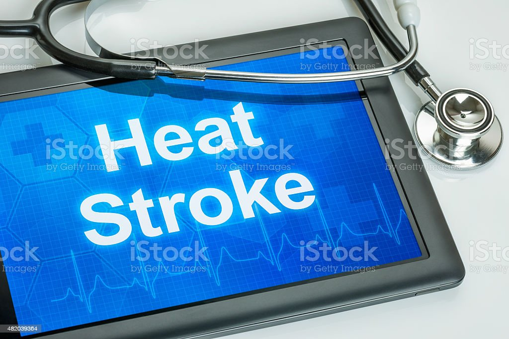 Tablet with the word Heat Stroke on the display stock photo