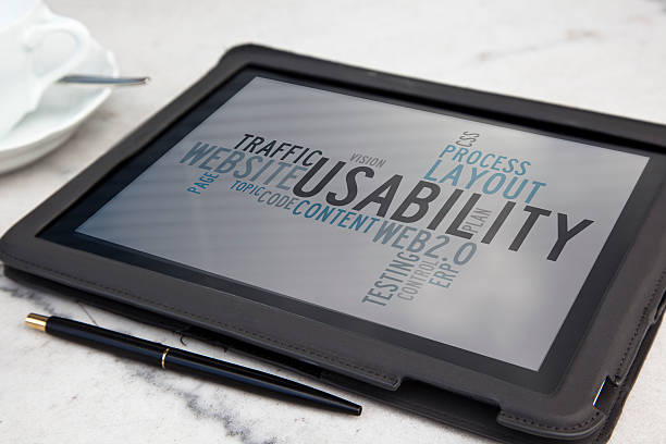 tablet with usability software word cloud stock photo
