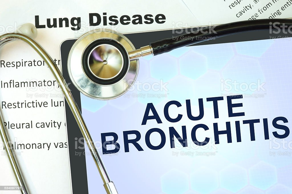 Tablet with word Acute bronchitis and stethoscope. stock photo