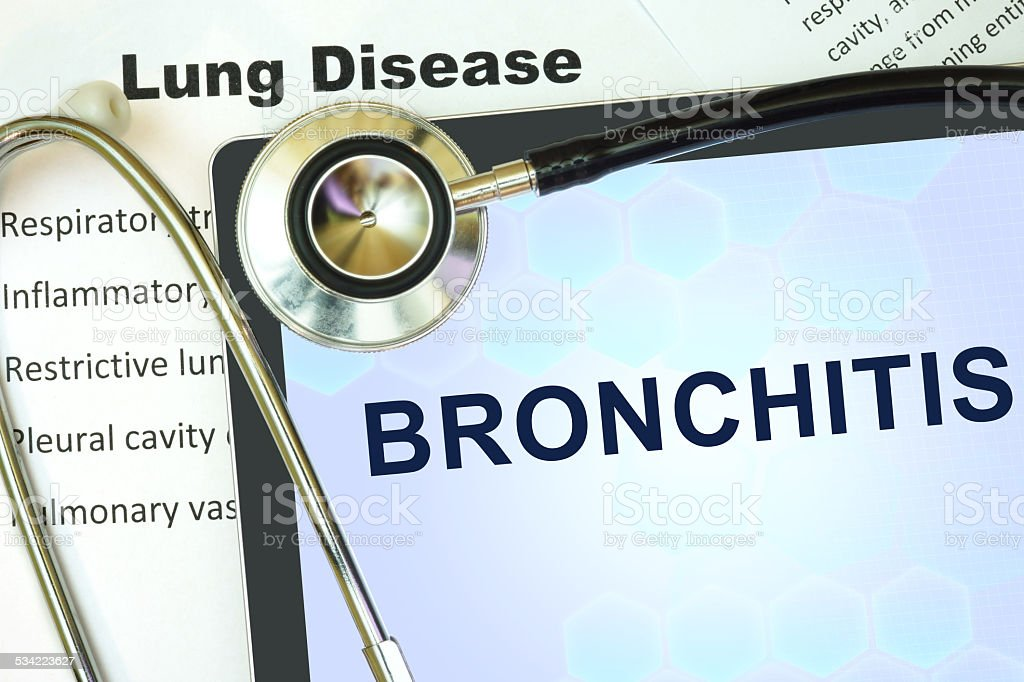 Tablet with word bronchitis and stethoscope. stock photo