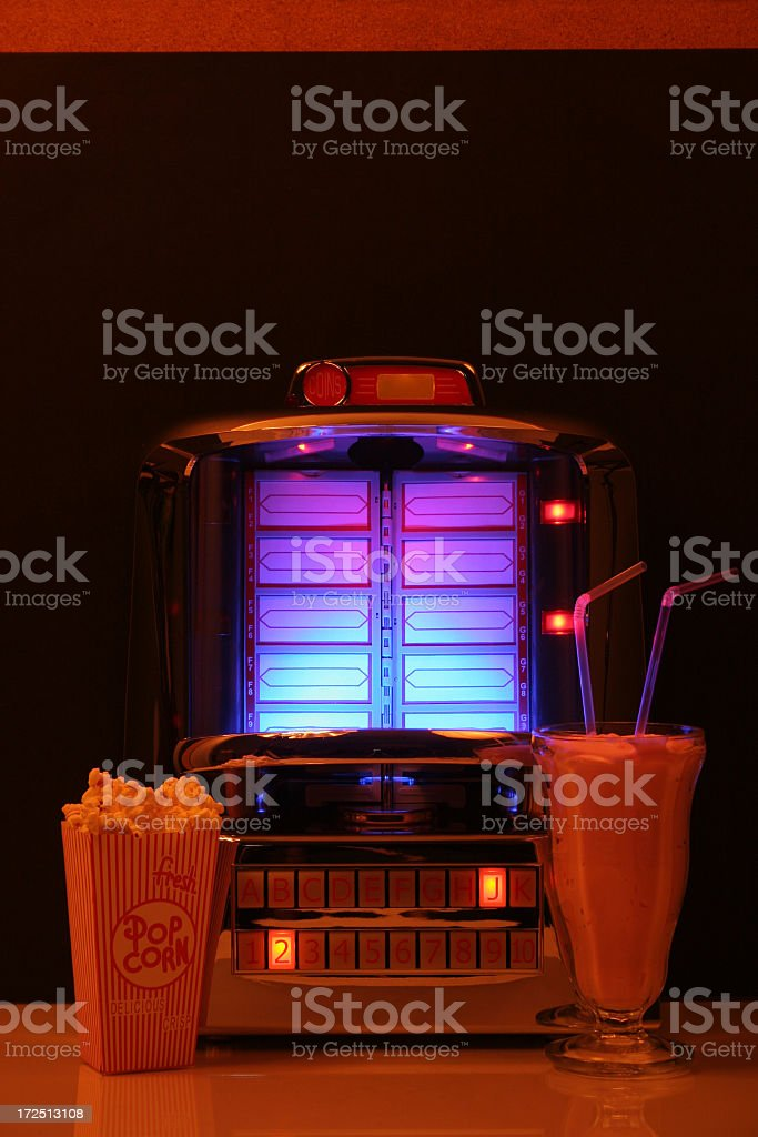 Tabletop Jukebox and foods royalty-free stock photo