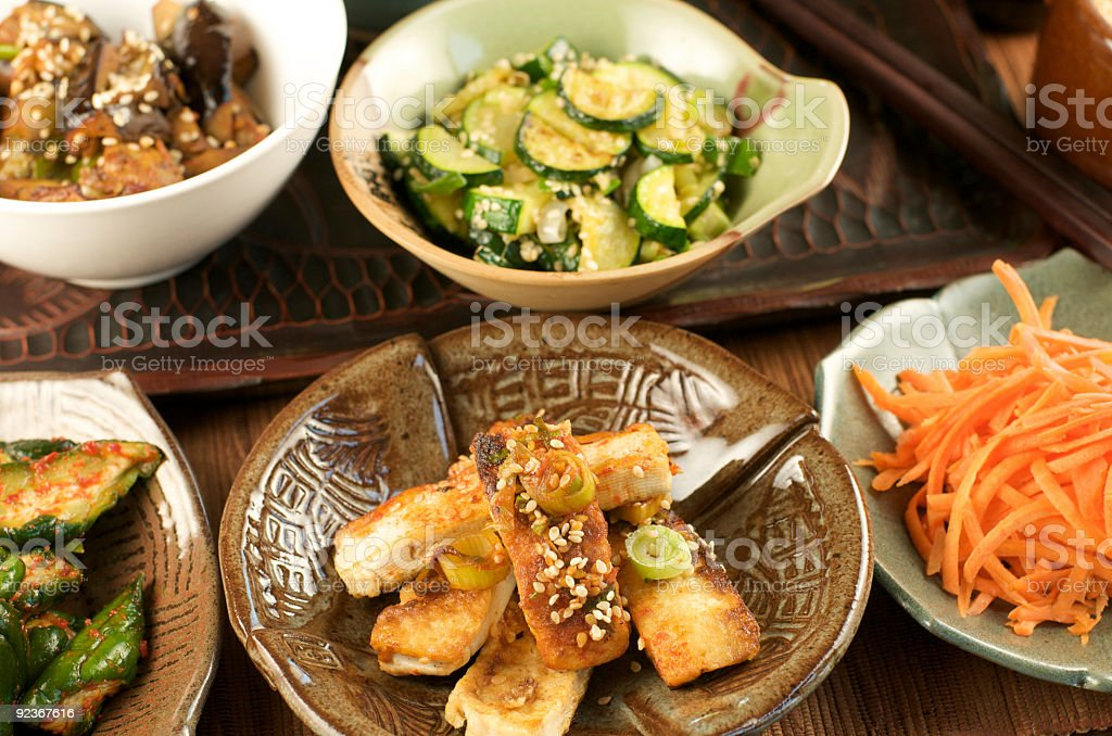 Tabletop of Small Korean Side Dishes royalty-free stock photo