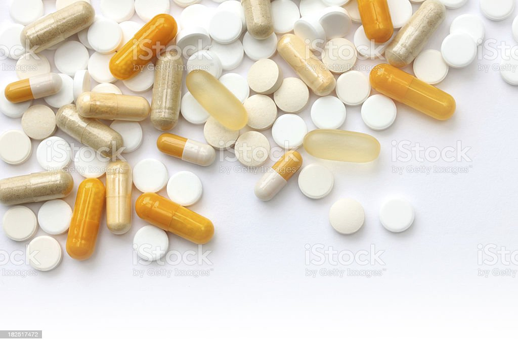 Tabletts and capsules stock photo