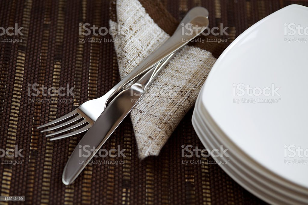 tableware and napkin royalty-free stock photo