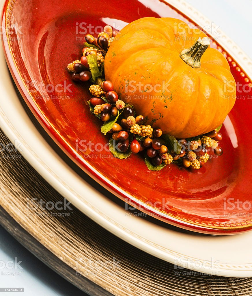 Tableware in Fall Colors with Pumpkin royalty-free stock photo