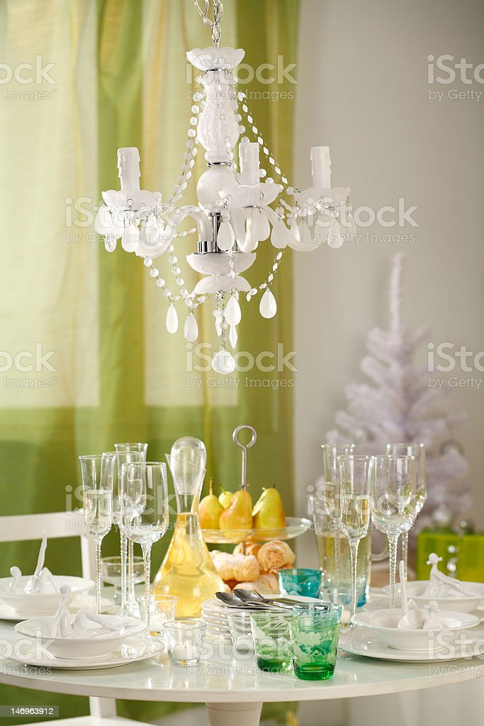 Tableware with yellow pears royalty-free stock photo